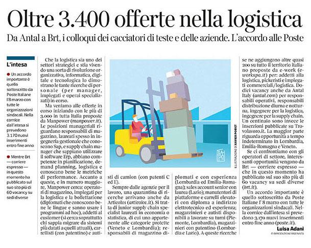 291 - Corriere Economia - assunzioni nella logistica - 16.04.19 - pp.33