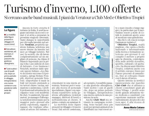 265 - Corriere Economia - Turismo, jobs, stagione invernale - 18.09.18 - pp. 39