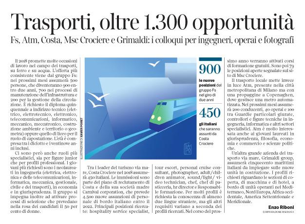 239 - Corriere Economia -Trasporti su ferro e acqua; assunzioni - 12.12.17 - pp.43