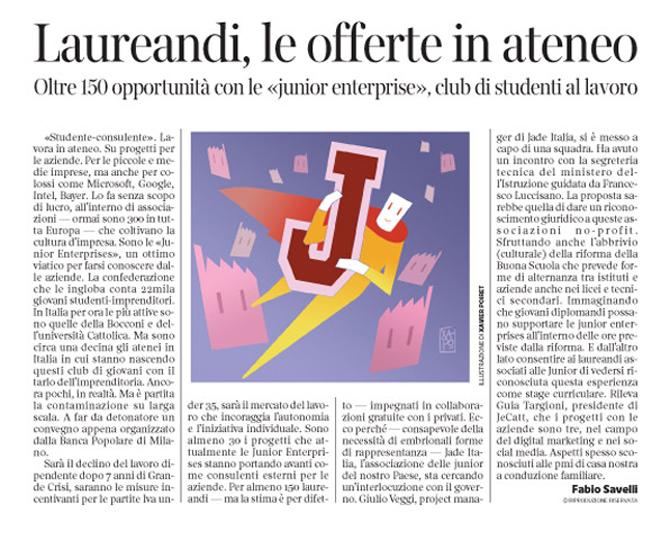 Corriere Economia - Junior enterprises - 8.12.15