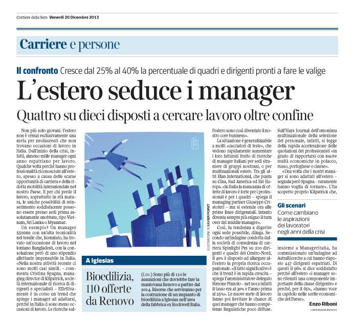 Corriere Economia - 20.12.13 - Managers - Cresce la voglia di lavoro all'estero