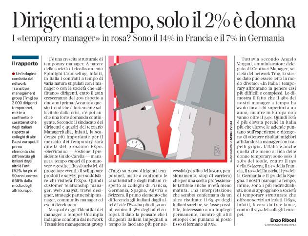 Corriere economia - 16.12.14 - temporary managers a confronto