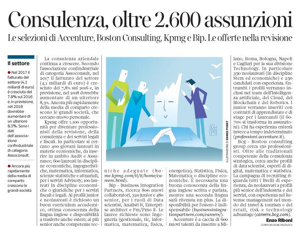 276 - Corriere Economia - assunzioni nei gruppi di consulenza - 11.12.18 - pp.39