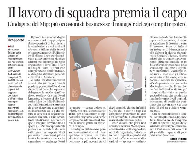 Corriere Economia - A.D. meglio chi delega - 15.12.15