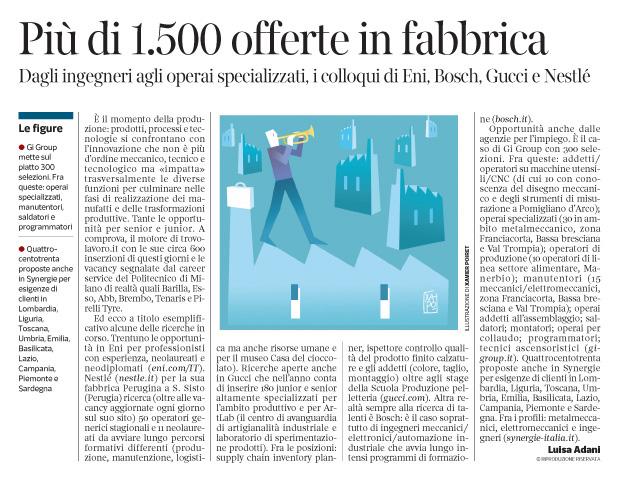 272 - Corriere Economia - dirigenti e operai, assunzioni in fabbrica - 13.11.18 -pp.39