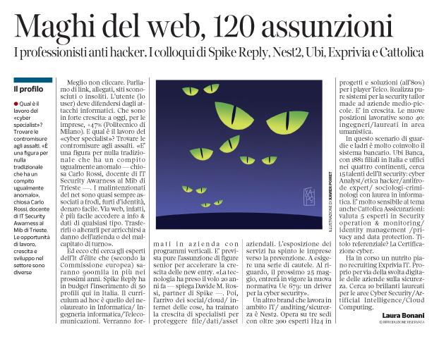 243 - Corriere Economia - esperti anti hackers - 13.02.18 - pp.31