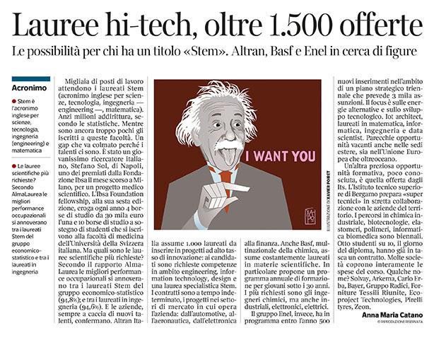 293 - Corriere Economia - assunzioni di laureati S.T.E.M - 07.05.19 - pp.37