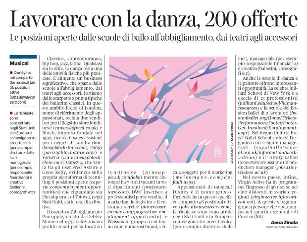 274 - Corriere Economia - assunzioni nel mondo della danza - 27.11.18 - pp.39