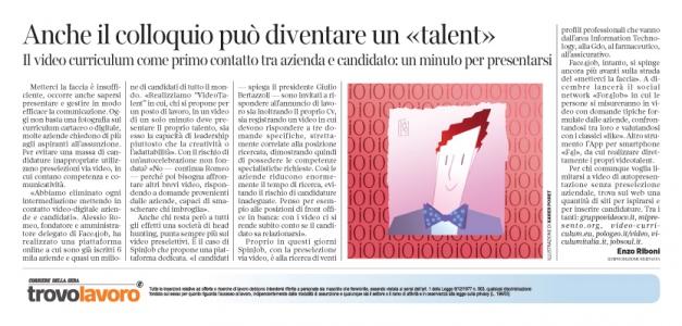 Corriere Economia - CV-ci metti la faccia! - 29.11.16