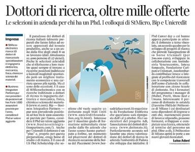 294 - Corriere Economia - dottori di ricerca; le opportunità - 14.05.19 - pp.35