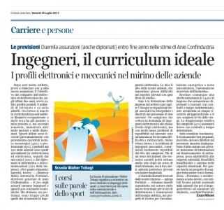 Corriere Economia - 19.07.13 - Aziende - Grosse difficolta nel reperire ingeneri elettronici