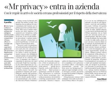 """Corriere economia - professione """"Privacy officer"""" - 17.03.15"""