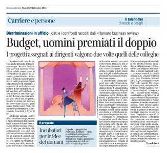 Corriere Economia - 20.09.13 - Discriminazione - Quando le donne partono in svantaggio