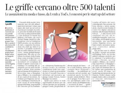 Corriere Economia - assunzioni nella moda e nel lusso - 25.10.16 -  pp.33
