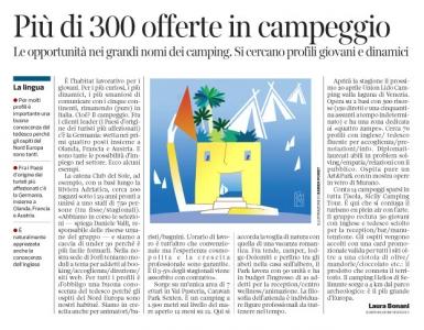 249 - Corriere Economia - giovani; lavoro nei campeggi - 10.04.18 - pp.33