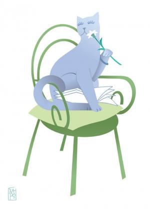 La chatte aux longs cils - ( 18x25cm ) - 07.07.17