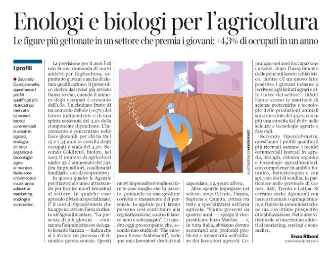 Corriere economia - Opportunità nell'agro alimentare - 1.03.16 - pp.39