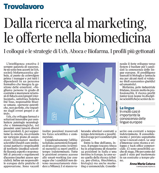 306 - Corriere Economia - assunzioni in società farma. - 24.09.19 - pp. 33